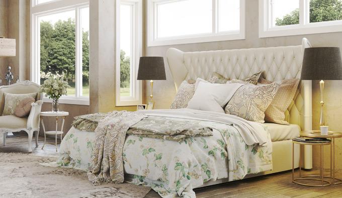 Habitación con un colchón de la colección Belle Époque