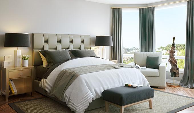 Habitación con un colchón de lacolección Bedding Tech