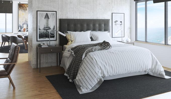 Habitacion con cama de la coleccion Bedding Tech