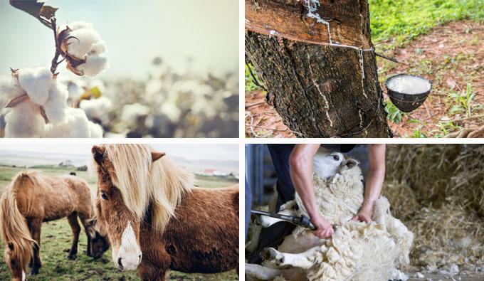Materiales naturales como la lana, seda, lino, crin de caballo
