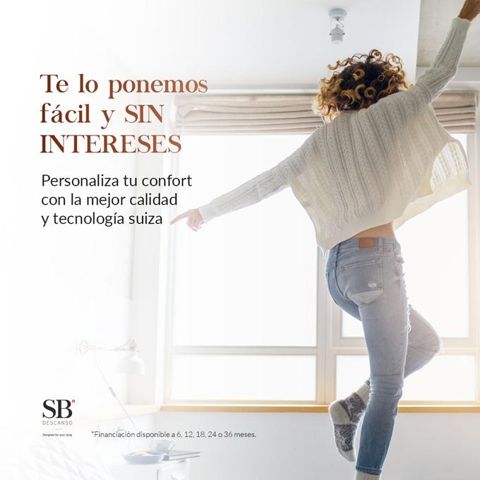 SB Descanso te lo pone fácil y sin intereses. 0% intereses y 100% descanso