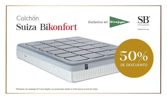Promoción Colchón Suiza Biskonfort al 50% en El Corte Inglés